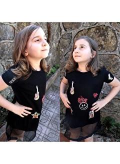 Quzucuk Kids Kız Çocuk File Detaylı Siyah Tunik